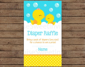 Printable Orange and Yellow Rubber Ducky Baby Shower Diaper Raffle, JPEG 300DPI, 3.5x2 inches