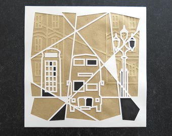 london, illustration, decoration, city, crafts, wall, design, visual, cutting, gift, double decker bus, telephone box, paper cut art, light