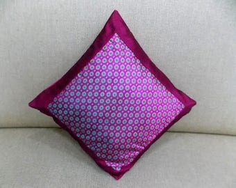 Indian Silk Cushion Cover Home Brocade Work Decorative Pink Color Size 17x17""