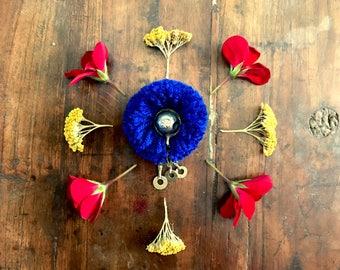 Handmade Brooch - Dangling Afghani Button Blue small Afghani ethnic bohemian