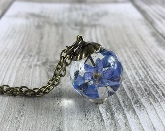 Forget me not jewelry-forget me nots-resin jewelry-resin orb-real flower jewelry-blue jewelry-blue necklace-summer jewelry