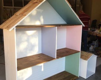 American Girl or Barbie size handcrafted dollhouse that can be made withvoe without a dinished front  can make any style!