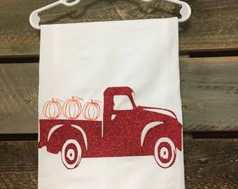 Red truck pumpkin tea towels