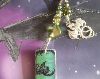Altered Domino Dragon Keyring with Dragon Charm