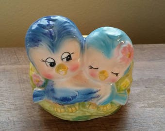 Vintage Bluebird Couple Planter