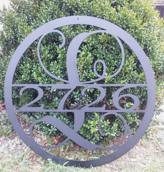 28 INCH Circle Monogram with House Number, Metal Wall Art, 28 Inch Round Monogram Metal Sign