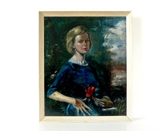 Woman with Red Rose - Mid Century Large Original Signed Oil Painting - 1950's - Vintage Portrait Painting