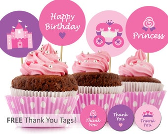 Printable Princess Cupcake Topper Princess Birthday Cupcake Topper Party Decorations Party Favor Tags Free Thank you Tags INSTANT DOWNLOAD