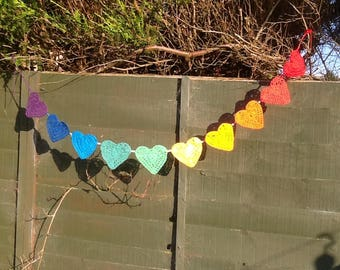 Rainbow love heart garland
