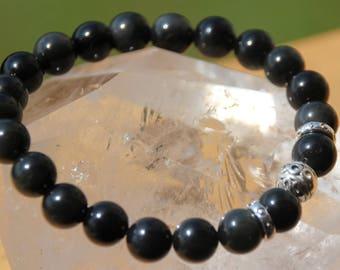 Obsidian and Tibetan Bead Bracelet