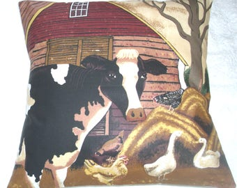 On the Farm Friesian Cow and chickens in the farmyard cushion