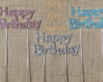 Happy Birthday Rhinestone Cake Topper- Crystal Cake Topper- Cake Topper- Cake Decorations-
