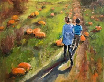 "In the Pumpkin Patch 36""x24"" oil on canvas"