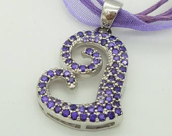 Vintage Amethyst CZ and Sterling Silver Heart Pendant