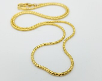 """Vintage 2mm Diamond Cut Gold Plated Rope Chain Necklace - 20"""""""
