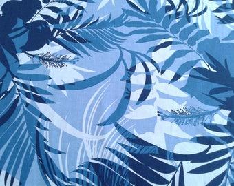 Blue Monochrome Hawaiian Print Fabric, Palm Fronds, Navy, Monotone, Aloha, Tropical Hibiscus and Heliconia, 100% Cotton poplin