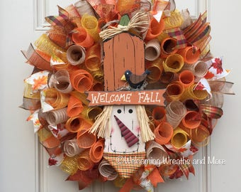 Fall Wreath, Scarecrow Wreath, Welcome Wreath, Fall Mesh Wreath, Autumn Wreath, Fall Welcome Wreath, Autumn Mesh Wreath, Fall Door Wreath