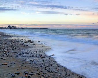 December evening seascape, Egypt Beach, Scituate, MA, South Shore, Boston, beach photography, sea and sky, coastal, archival, signed print
