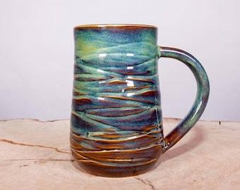 Wave Texture Forest Green Handmade Pottery Mug