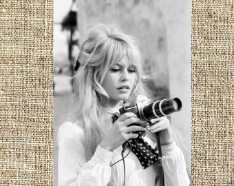 Brigitte Bardot photograph, vintage photo print, classic old Hollywood photograph, black and white print, boho wall decor