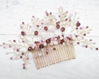 Gift|for|friend Hair|accessories Wedding hair Wedding rose gold Hair comb bridal Wedding hair clip Wedding hair comb Bridal headpieces Comb