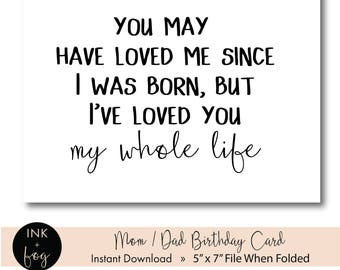 Printable Mom Card, Dad Card || father's day card, mother's day card, birthday card for mom, birthday card for dad, 5x7 greeting card, pdf