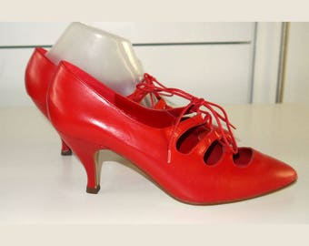 1980s Red Court Shoes with Ghillie Lacing by Kalvi UNWORN