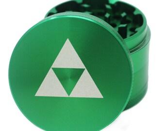"Herb Grinder Laser Engraved - Green - 2.2"" Inch 4 Piece"