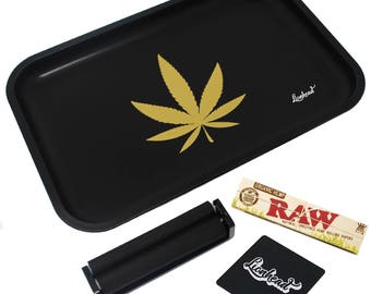 """Full Size Rolling Tray – 12"""" x 8"""" Black Tray + 110mm Rolling Machine + King Size Raw Rolling Papers  + Loader – Lionhead"""
