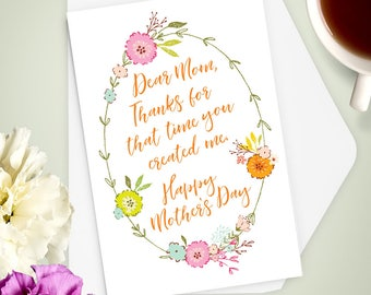 Greeting Card, Happy Mother's Day Thank You, Stationery, Note Card, Mom, Humor, Flowers
