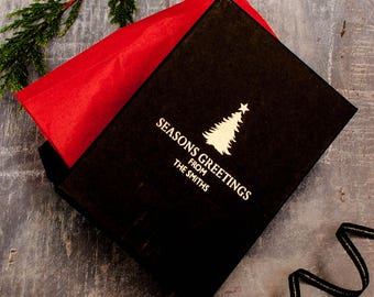 Personalised Black and Gold Christmas Tree Gift Box