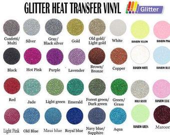 "1yd x 20"" Glitter Heat Transfer Vinyl - 30 Colors Available"