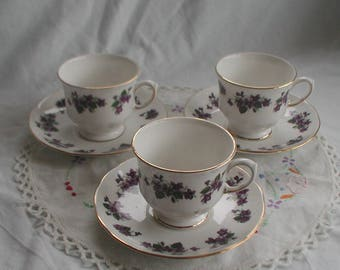 Queen Anne Bone China Violets Design Cup and Saucer x 3