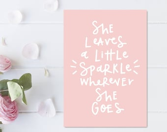 Baby Girl Nursery Decor Girl Bedroom Wall Quotes Pink Nursery Decor She Leaves A Little Sparkle Girls Room Wall Art Print