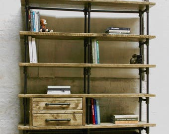 Ana-Maria Clear Varnished Reclaimed Scaffolding Board and Dark Steel Pipe Bookcase with Integrated Drawer Units and Roll out Storage Boxes