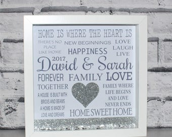 Housewarming Gift, New Home Gift, First Home Gift, New House Gift, Wall Art, Personalised Frame, Personalised, Gift, 3D Box Frame
