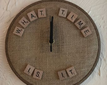 Scrabble letter clock - what time is it