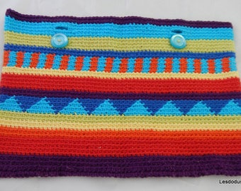 Large pouch style backpack kilim multicolor crochet