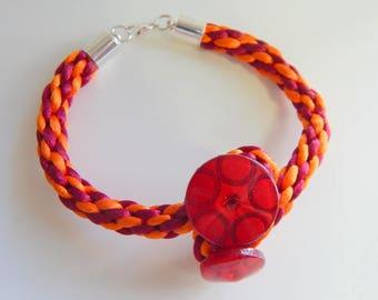 Women braided kumihimo orange Burgundy button bracelet