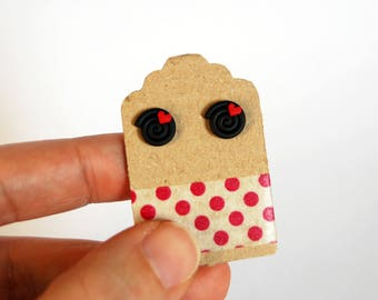 Studs red licorice with hearts in fimo