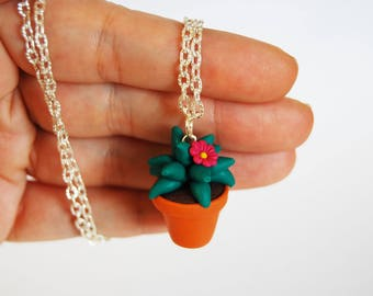 Cactus Succulent necklace in fimo-Fuchsia flower-collection CactusLovers