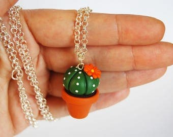 Cactus Succulent long necklace in fimo-orange flower-collection CactusLovers