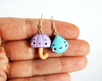 Lilac Umbrella and drop earrings in polymer clay-Kawaii Collection Autumn