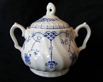 Sale Myott Staffordshire Lidded Sugar Bowl, Fine English China, Pierced Finial, Finlandia Pattern