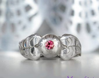 ON SALE Size 7 - Pink Tourmaline Split Shank Ring in Sterling - Silver Leaf Rubellite Statement Ring - October Birthstone Ring - Ready to Sh