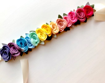 Felt flower crown with green leaves headband - rainbow roses
