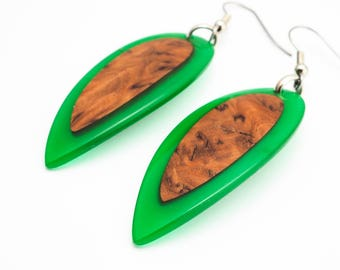 Green Resin and Wood Earrings; Wood and Resin Jewelry, Wood and Resin Earrings, Resin Jewelry; Resin Jewellery; Resin