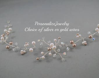 Bridal hair vines Pearlescent white champagne pearls Crystals Flower Silver gold Wedding hair accessories accessory Spring wedding vines