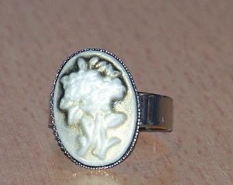 1 ring adjustable silver ring and bouquet 18x13mm cabochon