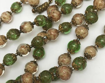 "Vintage Murano Aventurine Glass  Beaded Necklace  . Sommerso Glass Beads . 54""L"